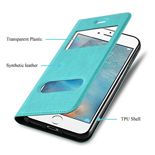 Cadorabo - Etui Housse pour Apple iPhone 7 avec stand horizontale, Fermeture Magnétique Invisible et 2 Fenêtres de Visualisation dans Désign View