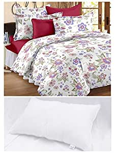 Story@Home 152 TC 100% Cotton White 1 Double Bedsheet + 2 Pillow Covers + 1 Pillow