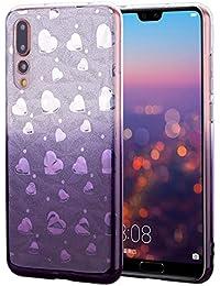 Nadoli Glitzer Hülle für Huawei P20,Weich TPU Zurück Skin Flexibel 2 in 1 Kristall Glänzend Gradient Dunkel Lila Silikon Schutzhülle Etui für Huawei P20,Gradient Dunkel Lila