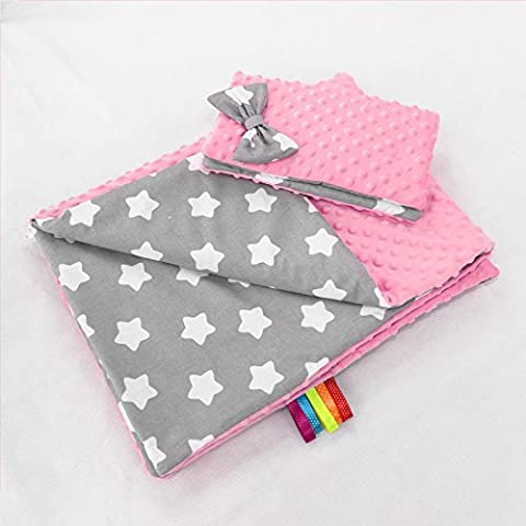 BABY BLANKET MINKY FLUFFY COTTON SOFT TO TOUCH WARM QUILT PILLOW 100x75 cm (Light pink - big white stars on grey)