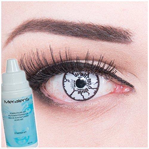 (Meralens White Monster Kontaktlinsen mit Pflegemittel ohne Stärke, 1er Pack (1 x 2 Stück))