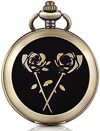 Infinite U reloj de bolsillo mecánico con Photo reloj blanco–Número Romanos aleación con la rosa de oro dos cadenas para hombre Mujer