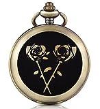 Infinite U Orologio da taschino meccanico con fotografica quadrante bianco numeri romani in lega la rosa d' oro con due catene per uomo donna