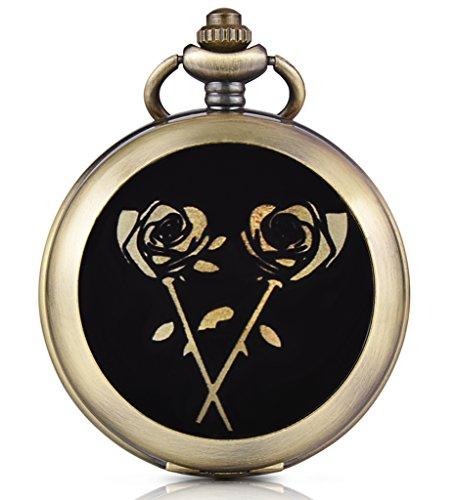 Unendlich U Golde Rose Foto Medaillon Handaufzug Mechanische Taschenuhr Weißes Zifferblatt Skelettuhr Pullover Halskette, beide Ketten