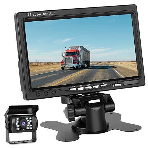 Directtyteam Caméra de Recul Voiture sans Fil 7 Pouces TFT LCD Miroir Moniteur 18 LEDs (7')