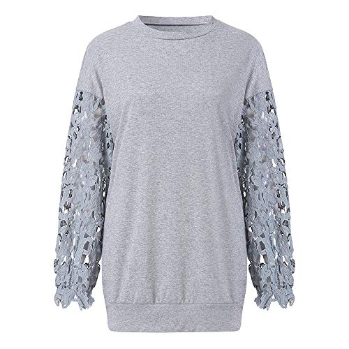 CICIYONER Damen Casual Langarm O Neck Spitze Patchwork Pullover T Shirts Tops Bluse S-XXL