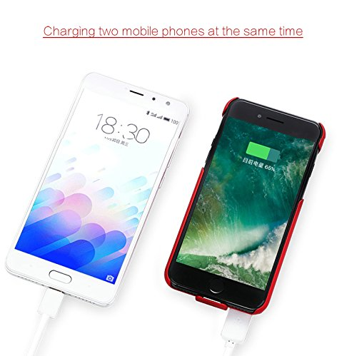EasyLife iPhone 6/6Plus/6s/6S Plus/7/7Plus Coque batterie, 3000mAh 3en 1amovible Portable fin chargement sans fil magnétique d'alimentation de secours Coque, rechargeable Power Bank étui de charg Red