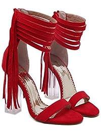 11CM Transparente Cristal Chunkly Heel Borla Sandalias Mujer Moda Abierto Cremallera Borla Correa de tobillo Sandalias Zapatos De Vestir Tamaño de la UE 34-40 , red , 38