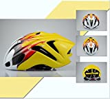 Casco de bicicleta hombres y mujeres bicicleta bicicleta de montaña vehiculos de carretera Una pieza Cómodo Respirable paseo Fila casco 54-62cm , yellow flame