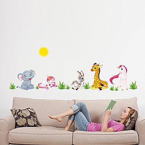 Rainbow Fox Tier Zoo Wandaufkleber Elefanten, Affe, Giraffe Kinder Zimmer Dekoration (#1)