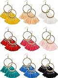 9 Pares de Pendientes de Aro de Borlas Pendientes de Flecos en Forma de Abanico Bohemio Pendientes de Orejas con Colgantes para Mujeres Chicas Accesorios de Vestido Bohemio de Fiesta (Multicolor B)