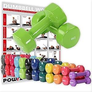 POWRX Manubri pesi vinile 12 kg set (2 x 6 kg) + PDF workout con 20 esercizi (Verde chiaro)