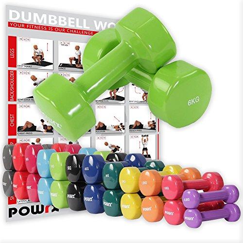 Powrx - manubri pesi vinile 12 kg set (2 x 6 kg) + pdf workout (verde chiaro)