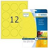 Herma 5152 Neonetiketten rund, farbig, signalstark (Ø 60 mm auf DIN A4 Papier matt) 240 Stück, neon-gelb, bedruckbar, selbstklebend