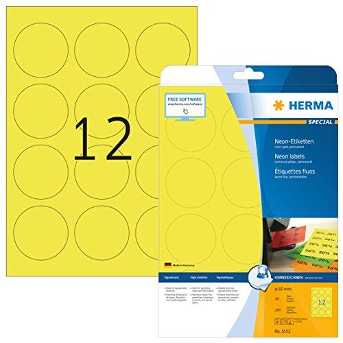 Herma 5152 Neonetiketten rund, neon gelb (Ø 60 mm) 240 Farbetiketten, 20 Blatt DIN A4 Papier farbig matt, signalstark, bedruckbar, selbstklebend