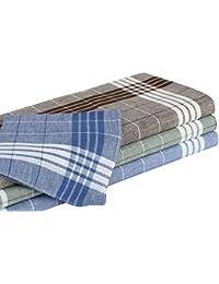 10er Pack Arabias Herrentaschentücher grün, blau, braun kariert 40x40 cm aus 100% Baumwolle