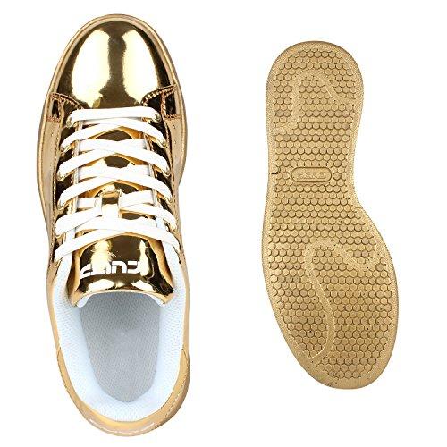 Damen Sneakers Sportschuhe Schnürer Lack Lederoptik Schuhe Gold Metallic