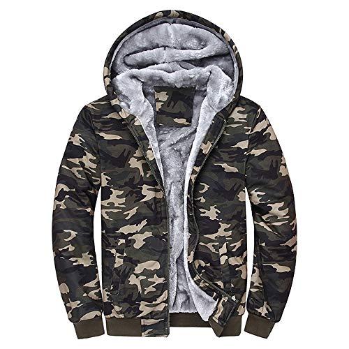 JiaMeng Heißer Mens Camouflage Hoodie Winter Warme Fleece Zipper Sweater Jacke Outwear Mantel