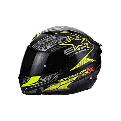 Scorpion – Casco para Moto EXO-1200 AIR Solis, mate negro/amarillo