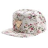 Kingko Fleur floral Snapback Hip-Hop chapeau plat visière réglable Low Profile Cap casquette de Baseball (beige)
