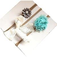 3pcs Diademas de Flores para bebé Diadema Accesorios de Bowknot Perla Conjuntos de Diadema para 1-3 años❤️Lonshell