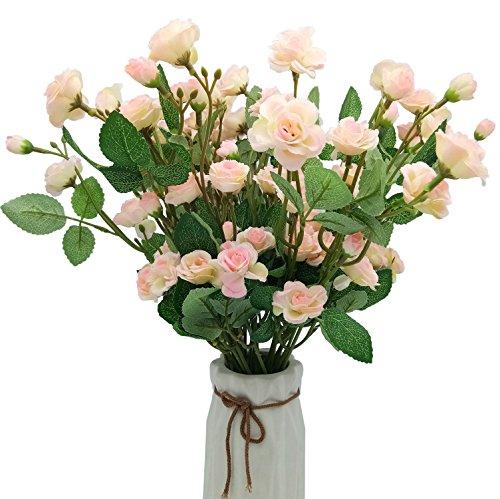 6 Piezas Flores Artificiales 12 Cabezas Rosas Ramilletes