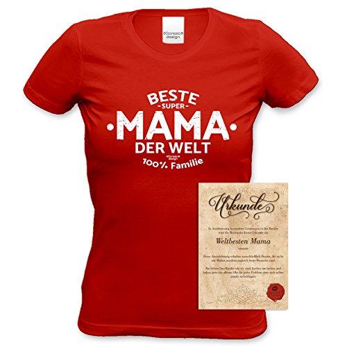 Geburtstagsgeschenk, Geschenkidee, bequemes T-Shirt für Frauen Beste Mama der Welt ideales Geschenk zum Muttertag Farbe: rot Rot