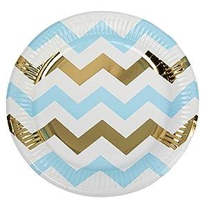 Neviti Pattern Works - Plato para Fiestas, diseño de Zigzag, Color Azul