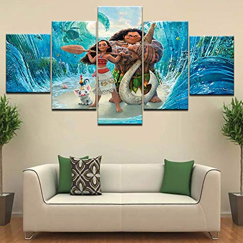e 5 Stück Moana Malerei Ocean Romance Film Kinderzimmer Dekoration Wandkunst (Kein Rahmen) Größe A ()