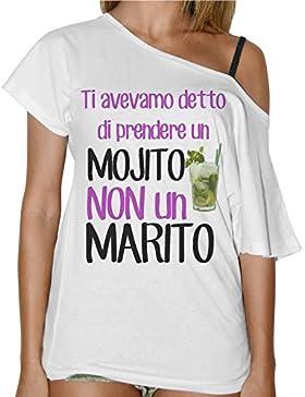 T-Shirt Donna Collo A Barca Ti Avevamo Detto Un Mojito Non Un Marito - Bianco