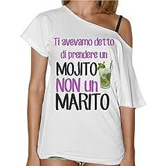 Idea Regalo - thedifferent T-Shirt Donna Collo A Barca Ti Avevamo Detto Un Mojito Non Un Marito - Bianco