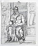 Mosè di Michelangelo- Studio su cartoncino telato,tecnica a china nera,dimensioni cm 24x30x0,3 cm,pronto per essere appeso al muro.Made in Italy,Toscana,Lucca.Creato da Davide Pacini.