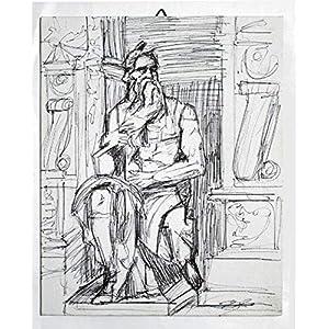 Michelangelos Moses – Studie auf Leinwandpapier,Technik in China schwarz,Maße cm 24x30x0,3 cm, bereit, an die Wand…