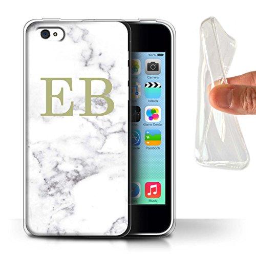 Personalisiert Weiß Marmor Mode Gel/TPU Hülle für Apple iPhone X/10 / Gerahmt Gold Marke Design / Initiale/Name/Text Schutzhülle/Case/Etui Goldstempel