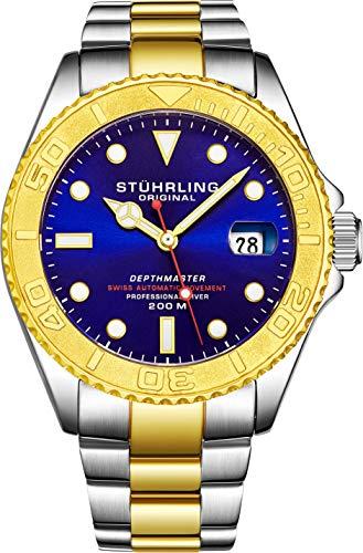 Stuhrling Original - Montre de plongée Professionnelle DEPTHMASTER en Acier Inoxydable, Automatique, étanche à 200 mètres, avec Fermoir de sécurité Divers et Couronne vissée (Gold)