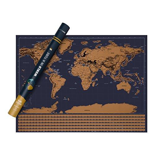 VIVALOO Mapa Mundi para rascar - Poster del Mundo para Pared- Mapa para rascar