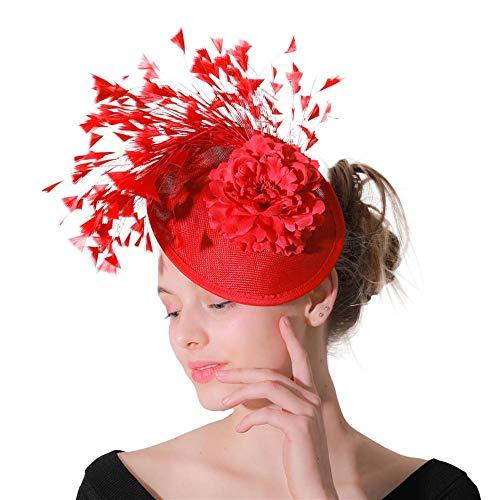 HFJ&YIE&H Faszinatoren Feder Haarschmuck Sinamay Hüte Hochzeit Party Kopfbedeckung Damen Fedora Kentucky Cocktail-Hüte