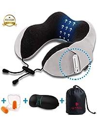Luamex® - Nackenkissen – Nackenhörnchen - Silverfox Soft Fleece 100% Memory Foam - Reisekissen – Nackenstütze – inkl. Schlafmaske und Ohrstöpsel