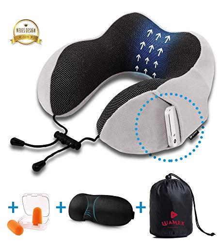 Luamex® - Nackenkissen - Nackenhörnchen - Silverfox Soft Fleece 100% Memory Foam - Reisekissen - Nackenstütze - inkl. Schlafmaske und Ohrstöpsel
