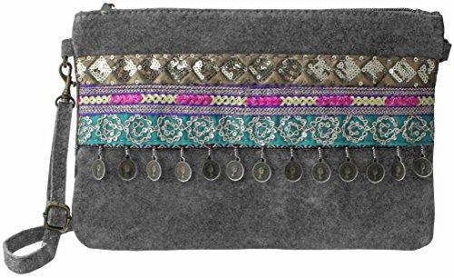 bag2basics Boho Clutch Sac bandoulière style ethnique en daim souple | Plusieurs coloris gris foncé