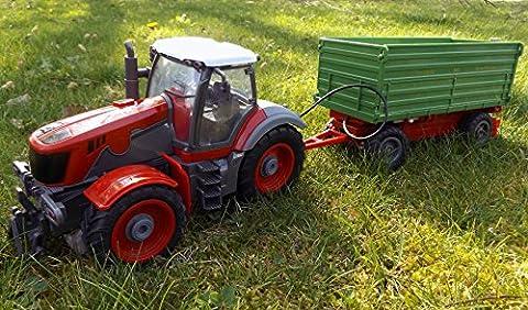 Brigamo 1235 - Ferngesteuerter Traktor mit Anhänger, 65 cm Länge, Radlader RC Trecker inkl.