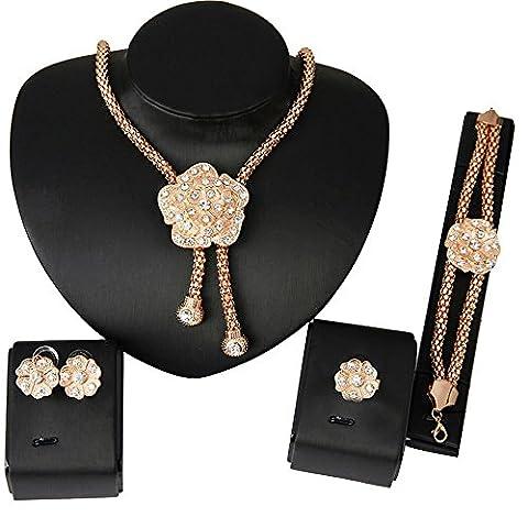 Contever® Attraktive Elegante Schmuck Set Halskette Ohrstecker Ring Armband Partei