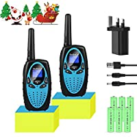 Bobela Kids Walkie Talkies Rechargeable With Charger Battery, Easy to Use Fun Toys Birthday Gift for 3-12 Year old Girls Boys Adults Family,3KM Long Distance for Camping Hiking Adventures