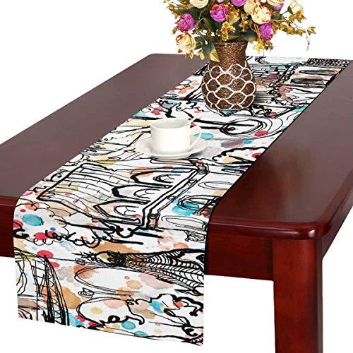 MUCCUM Tisch Runner Dresser Decke Runner Dekorationen für Partys, Hochzeit, Alte Stadt, bunt, 14 x 72 Zoll, 14