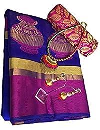 Promise Creation Blue Matka Cotton Silk Women Saree With Blouse Piece