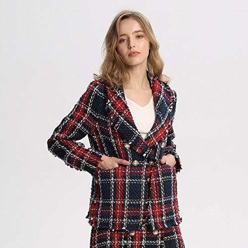 LXFWT Mujeres Elegantes Plaid Tweed Blazer Bolsillos Flecos Borla Manga Larga Abrigo Botones decoración Mujer Casual Prendas de Vestir Exteriores Tops CA228 M como Imagen