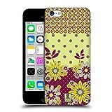 Head Case Designs Gelb Kastanienbraun Blumen Und Punkte Ruckseite Hülle für Apple iPhone 5c