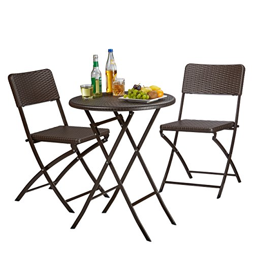 Tavoli E Sedie In Rattan Prezzi.Relaxdays 10020758 93 Set Tavolo E Sedie Da Campeggio Bastian