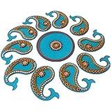Acrylic Rangoli Acrylic Handicraft Reusable Designer Handmade Big Mango Shape (40 Cm X 1 Cm X 40 Cm, Blue, Set Of 11)