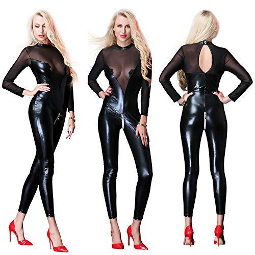 Womens Sexy Dessous Mesh Sheer Doppelreißverschluss Rollkragen Catsuit Lange Ärmel Bodystocking Crotch Bodysuits,M - Sheer Bodystocking